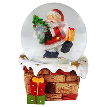 Image of Snowy Chimney Christmas Snow Globe Ornament Decoration - Santa with Tree