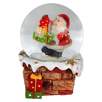 Image of Snowy Chimney Christmas Snow Globe Ornament Decoration - Santa with Present