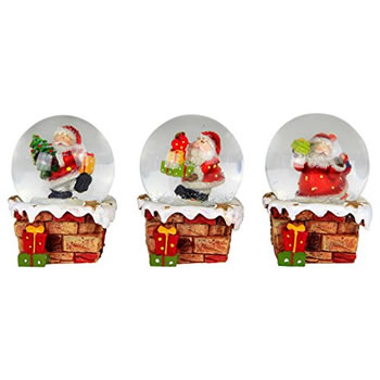 Image of Set of 3 Snowy Chimney & Father Christmas Snow Globe Ornament Decorations