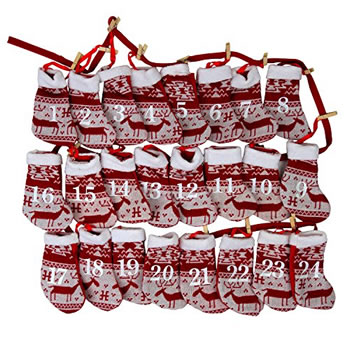 Image of Christmas Advent Calendar Red & White Fabric Sock 220cm Washing Line