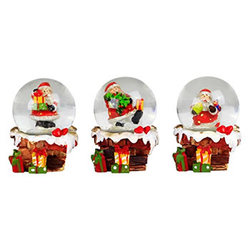 Image of Set of 3 Mini Snowy Chimney & Father Christmas Snow Globe Ornaments