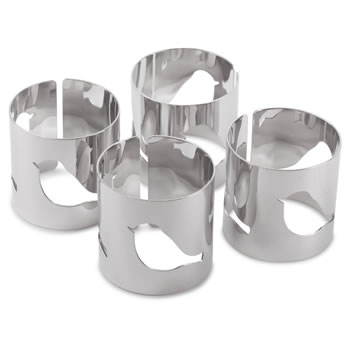 Image of Set of 4 Contemporary Silver Metal Bird Cut-out Napkin Rings