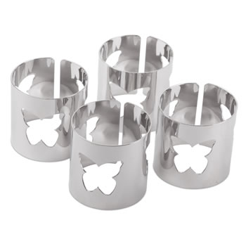 Image of Set of 4 Contemporary Silver Metal Butterfly Cut-out Napkin Rings