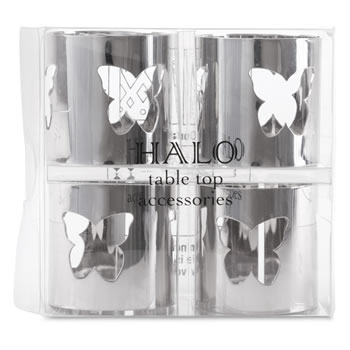 Extra image of Set of 4 Contemporary Silver Metal Butterfly Cut-out Napkin Rings