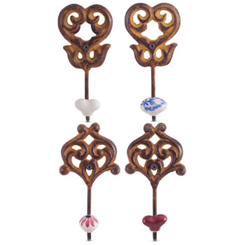 Image of Set of 4 'Linden' Rusty Cast Iron & Ceramic Wall Coat Hooks