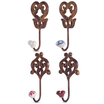 Extra image of Set of 4 'Linden' Rusty Cast Iron & Ceramic Wall Coat Hooks