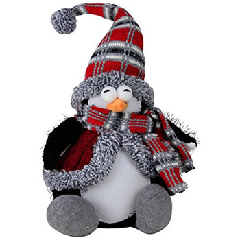 Image of Large 40cm Sitting Plush Penguin Christmas Ornament or Doorstop - Red Jacket