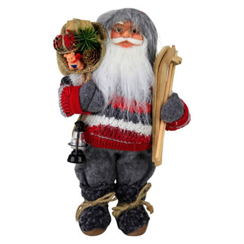 Image of 30cm Free-standing Father Christmas St. Nicholas Plush Statue Decoration