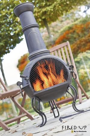 Image of 107cm Bronze Steel Chimenea Chiminea with BBQ Grill