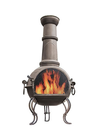 Image of La Hacienda 107cm Large Murcia Steel Chiminea with Grill - Bronze