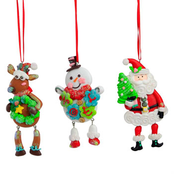 Image of Set of 3 Dangly Leg Claydough Christmas Character Tree Decorations - Santa, Rudolph & Snowman