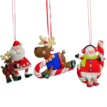 Image of Santa, Rudolph & Snowman Claydough Christmas Character Tree Decorations / Ornaments