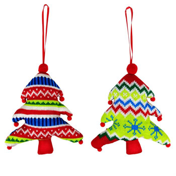 Image of Set of 2 Bright Knitted Fabric 18cm Christmas Tree Hanging Decorations