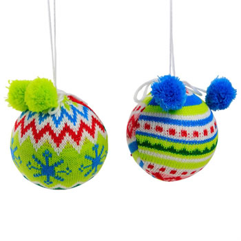 Image of Set of 2 Bright Knitted Fabric 8cm Hanging Christmas Tree Baubles