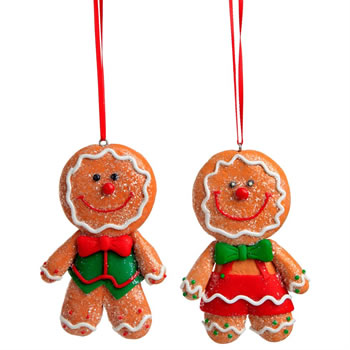 Image of Set of 2 Glittery Claydough Gingerbread Man Christmas Tree Hanging Decorations