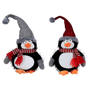 Image of 25cm Sitting Plush Penguin Christmas Ornaments - Set of 2