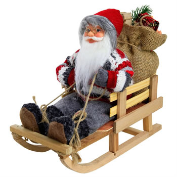 Image of 26cm Traditional Father Christmas St. Nicholas in Sled Plush Decoration