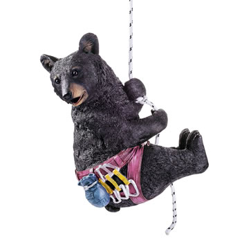 Image of Hamilton the Large Black Bear Hanging Rock Climbing Garden Ornament