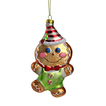 Image of Glass Gingerbread Man Christmas Tree Bauble Decoration