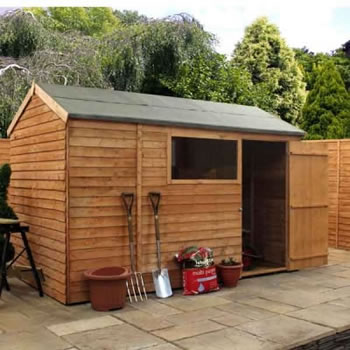 Image of 10 x 6 Overlap Single Door Reverse Apex Wooden Garden Shed