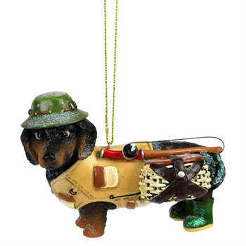 Image of Dachshund Fisherman - Novelty Dog Christmas Tree Ornament