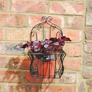 Extra image of Large Black Metal Wall Planter or Pot Holder for the Garden