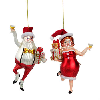 Image of Dancing Santa & Mrs Claus - Novelty Christmas Tree Bauble Decoration Set