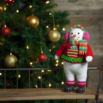 Image of 33cm Free-standing Fabric Christmas Snowman Decoration