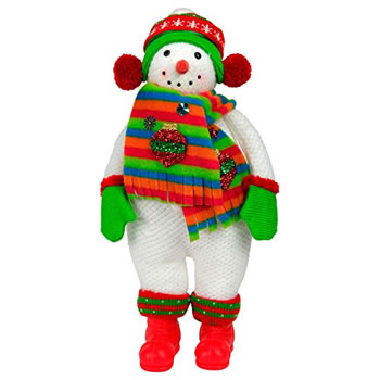 Image of Large 40cm Free-standing Fabric Christmas Snowman Decoration