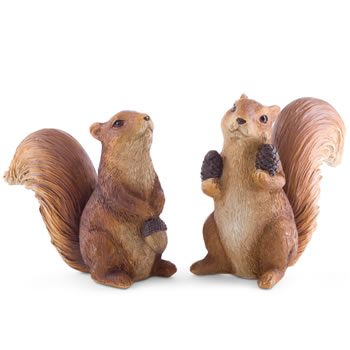Image of Walnut & Hazel the Red Squirrel Garden Ornament Pair