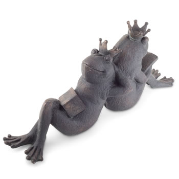 Extra image of Large Sitting Frog Prince & Princess Bronze Polyresin Ornament