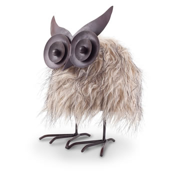 Image of Oswald the Novelty Brown Faux Fur Springy Bouncing Owl Christmas Ornament