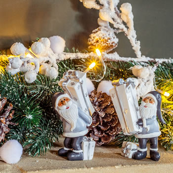 Extra image of Pair of White, Silver & Grey Santa Figurine Decoration Ornaments