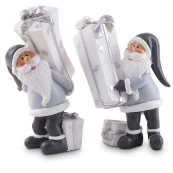 Image of Pair of White, Silver & Grey Santa Figurine Decoration Ornaments