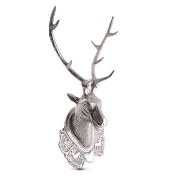 Image of Extra Large Silver Aluminum Wall Mountable Trophy Stag's Head Feature