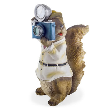 Image of Felix the Paparazzi Squirrel Garden Ornament with Solar Powered Light