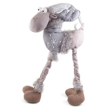 Extra image of Arthur & Aaron the Large 4 Legged Standing Grey Fabric Reindeer