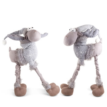 Image of Arthur & Aaron the Large 4 Legged Standing Grey Fabric Reindeer