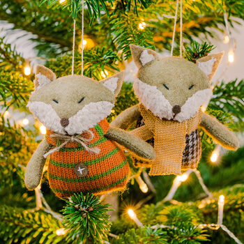 Extra image of Pair Of Hanging Fabric Fox Christmas Tree Decorations