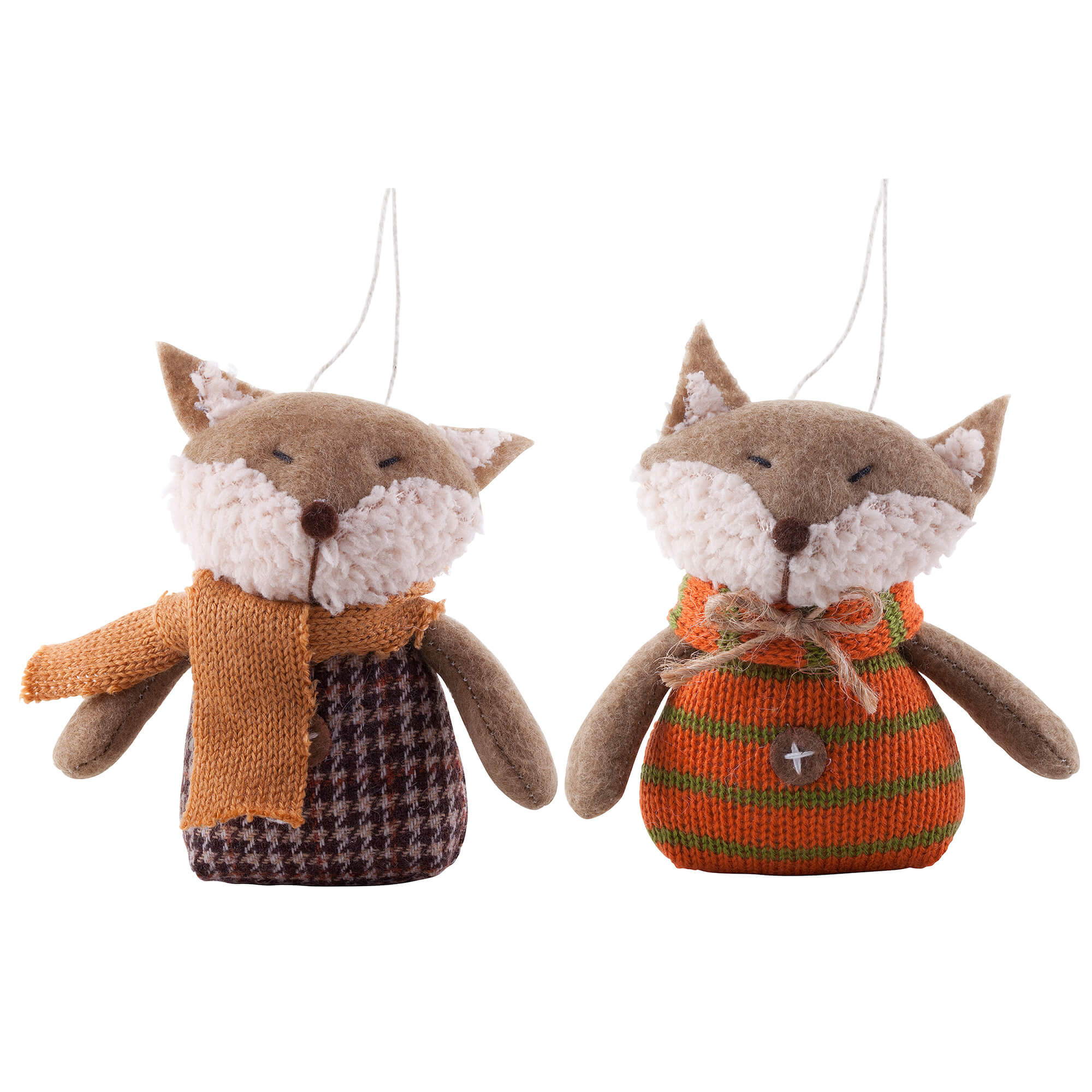 Image of Pair Of Hanging Fabric Fox Christmas Tree Decorations