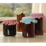 Small Image of 12 Fabric Gingham Jam Jar Covers Red, Green, Pink & Blue by Burgon & Ball