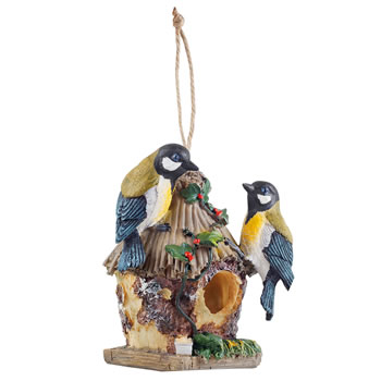 Image of Detailed Hanging Resin Blue Tit Design Bird House Nesting Box