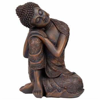 Image of 24cm Bronze Effect Polyresin Sitting Buddha Statue Ornament