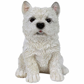 Image of Realistic 17cm Sitting White West Highland Terrier Puppy Dog Garden Ornament