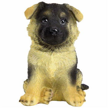 Image of Realistic 17cm Sitting German Shepherd Puppy Dog Garden Ornament