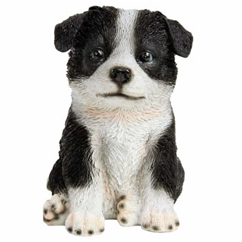 Image of Realistic 17cm Sitting Border Collie Puppy Dog Garden Ornament