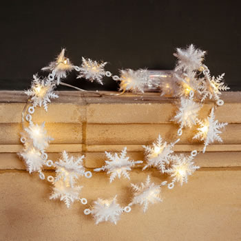 Image of Battery Powered Snowflake 20 LED Light Chain 1.8cm Christmas Garland