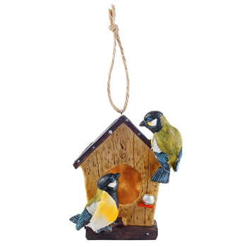 Image of Detailed Hanging Resin Garden Bird House Nesting Box w. Blue Tit Birds