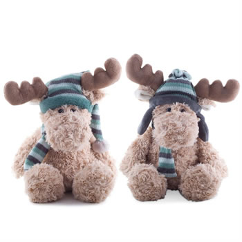 Image of 30cm Cuddly Plush Christmas Reindeer Toys in Blue Hats (Set of 2)