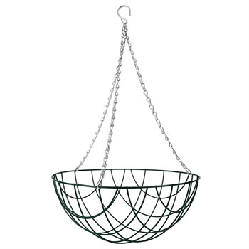 Image of 1 x Traditional 14-inch Green Metal Hanging Basket
